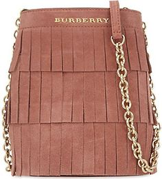 BURBERRY Fringe mini suede bucket bag (Russet