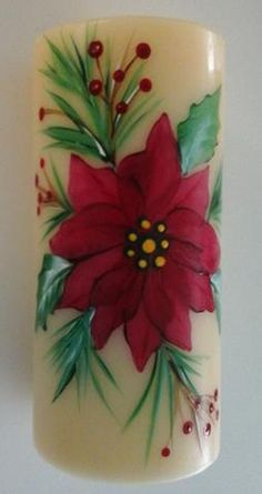 Custom Painted Candles One Stroke Flowers Animals Decor Art Class Lori Florida Christmas Candles, Christmas Centerpieces, Christmas Wreaths, Christmas Crafts, Christmas Ornaments, Handmade Candles, Diy Candles, Easy Holiday Decorations, Candle Art