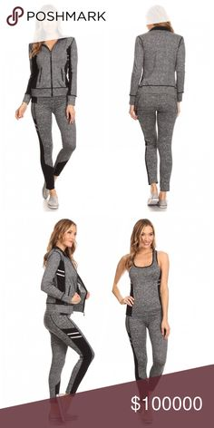 3 piece yoga/active wear set!! LAST ONE !!!! Solid, full length active wear 3 piece set in a fitted style with a front zipper and pocket detailing/ in black and charcoal😊- LAST ONE Pants