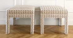 Super cute custom benches from the CEH in Sister Parish Design Fabric with contrast piping