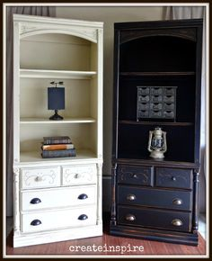 This is round II of project bookcase makeover this week. Many times when I get a piece of furniture I can see it in more than one color. Redo Furniture, Furniture Projects, Painted Furniture, Bookcase, Black Painted Furniture, Furniture, Color Collection, Home Decor, Bookcase Makeover