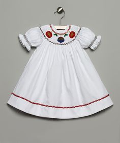 Take a look at this White & Red Ornament Bishop Dress - Infant & Toddler on zulily today!