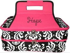 Monogrammed Pink Damask Insulated Double Casserole Tote