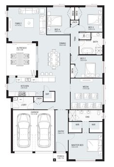 Aspect 28 - Single Level - Floorplan by Kurmond Homes - New Home Builders Sydney NSW Bedroom House Plans, House Floor Plans, Facade House, House Facades, Storey Homes, Level Homes, New Home Builders, Interior Design Living Room, Building A House