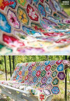 Crochet flower blanket in our Soft Cotton.