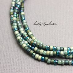 Green Blue Seed Bead Necklace