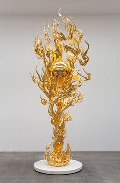 Takashi Murakami  Flame of Desire, Gold 2013 Height: 187 inches Edition of 3, 2AP ©2014 Takashi Murakami/Kaikai Kiki C