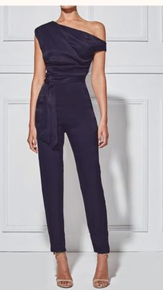 Women's Classy Commuting Sloping Shoulder Jumpsuit Mode Chic, Mode Style, Classy Outfits, Chic Outfits, Work Outfits, Summer Outfits, Look Fashion, Womens Fashion, Fashion Trends