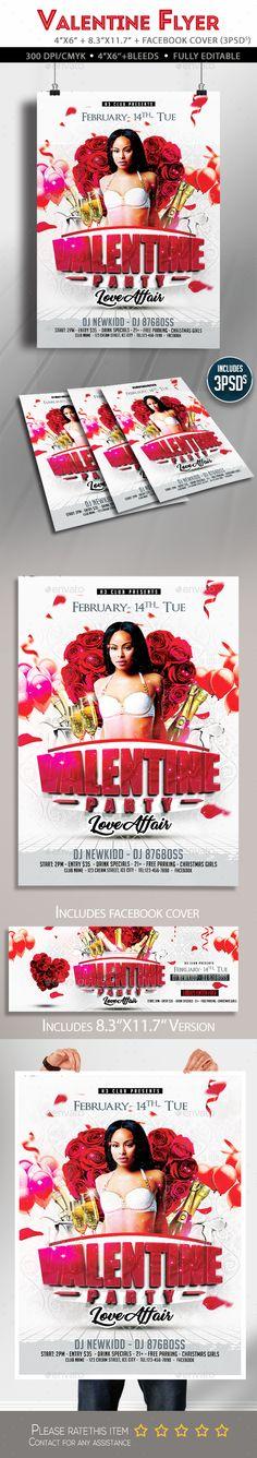 Valentine Party Flyer #valentines day #flyer  • Download here → https://graphicriver.net/item/valentine-party-flyer/19269863?ref=pxcr