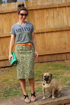 long print pencil skirt, graphic tee. My tee would need to say like Van Halen or something as I am a decade too old for Nirvana...LOL