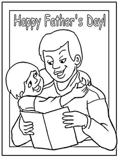 Fathers Day Coloring Page dad lifting young son Father