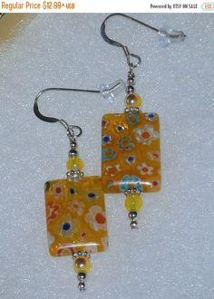 ON SALE NOW 925 Sterling Silver Yellow Millefiori Glass  Dangle Earrings
