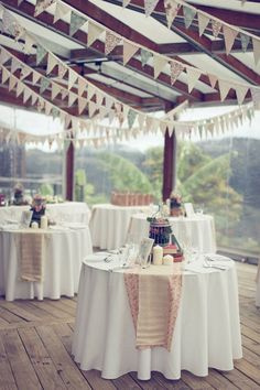 bunting over tables