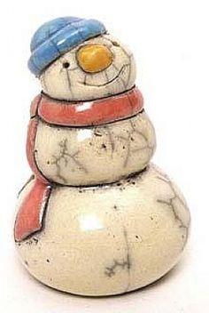 snowman ornaments   Christmas snowman ornaments raku pottery figurines