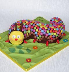 Caterpillar Cake, bright version of asda caterpillar cake with extra smarties. Pam Bakes Cakes. pambakescakes