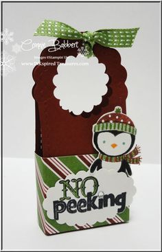 Connie uses No Peeking, Festival of Prints dsp, & Two Tags die to create this cute & easy treat holder. Instructions included.