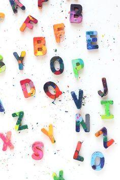 Christmas / Alphabet Crayons / Set of 26 / ABCs / Alphabet / Educational Crayons / Chunky Crayons / Making Crayons, Diy Crayons, How To Make Crayons, Crayon Letter, Diy For Kids, Crafts For Kids, Arts And Crafts, Diy Craft Projects, Alphabet