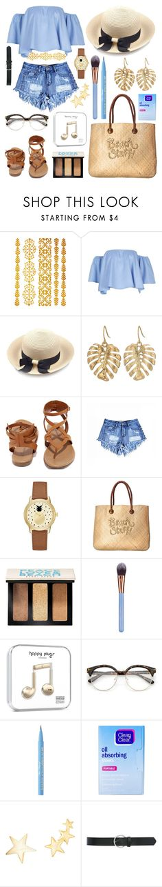 """""""Beach Bum"""" by nataliereyes ❤ liked on Polyvore featuring The Sak, Breckelle's, Jessica Carlyle, White Stuff, Bobbi Brown Cosmetics, Luxie, Too Faced Cosmetics, Clean & Clear, Kenneth Jay Lane and M&Co"""