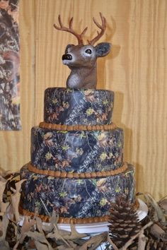wow..... I cant believe I found a camo cake with a deer cake topper. This has to be the grooms cake!