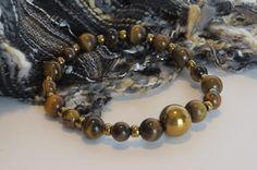 Tiger's Eye Bead Bracelet / TIGER EYE & by BeadablesBracelets