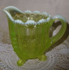 Vaseline Opalescent EAPG Fluted Scroll Creamer | eBay