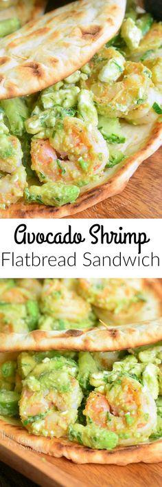 Avocado Shrimp Flatbread Sandwich. AMAZING flatbread sandwich that's packed with sauteed shrimp, creamy avocado, crunchy cucumbers, and feta cheese crumbles.