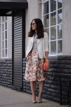 Butter and Flower : White Leather Jacket and Floral Full Skirt