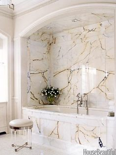 10 Ultra Glamorous Bathrooms - A Marble Bathroom: House Beautiful magazine online; interior design by Nancy Boszhardt; Dream Bathrooms, Beautiful Bathrooms, Luxury Bathrooms, Small Bathrooms, Latest Bathroom Designs, Glamorous Bathroom, Bathroom Ceiling Light, Ceiling Lights, Bathroom Lighting