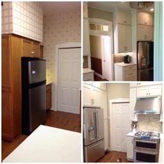 CliqStudios Dayton Cabinets, GE Cafe appliances, Seagrass Limestone Random brick backsplash, Carrera Quartz countertops, Amerock Westerly Satin Nickel cabinet pulls and knobs.