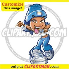 Girl Rapper & Singer cartoon clipart - Clipartman.com
