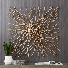 Albright Gold Metal 39 x Wall Art -How to Incorporate Nature into your Home Decor – Loving the Simple ThingsLayered and overlapping gold stems create an eye-catching modern look in this metal wall art style. Style # at Lamps Plus. Gold Wall Decor, Metal Wall Decor, Diy Wall Art, Diy Wall Decor, Gold Wall Art, Modern Wall Decor, Gold Art, Garden Wall Art, Patio Wall Decor