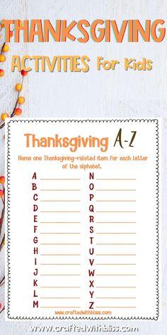 Thanksgiving Kids Activities, Kids Thanksgiving Game thanksgiving activities