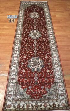 "2'6""x8' Runner Hand-knotted 200 kpsi Silk Oriental Persian Tabriz Rug 9515"