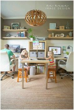 Creative Workspace Ideas for Couples Create a family office space with these tips.Create a family office space with these tips. Shared Office, Family Office, Family Room, Home And Family, Kids Office, Office Playroom, Small Office, Basement Office, Office With Two Desks