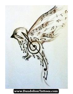 Music Note Dandelion Tattoo 13 - http://dandeliontattoos.com/music-note-dandelion-tattoo-13/