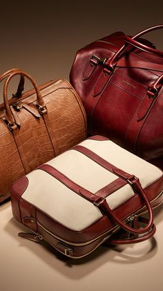 Classic briefcases and holdalls for the festive season crafted from leather and canvas in honey, tan and auburn.