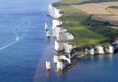 At the eastern end of the Jurassic Coast, the white chalk of Handfast Point and Old Harry Rocks gleams brightly.