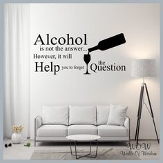 FREE UK Shipping Wall Stickers & Decals - Alcohol - The Question. - 90cm x 54cm / Dark Blue