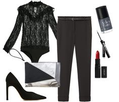 New Years Eve. Black lace bodysuit+black trousers+black stilettos+silver and black clutch. New Years Eve Party Outfit 2016