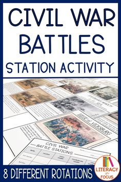 This is a stations activity for different Civil War battles. Students often struggle to understand how battles fit into the larger scheme of both the Civil War and Civil Rights in terms of emancipation. 7th Grade Social Studies, Social Studies Notebook, Social Studies Classroom, Social Studies Activities, History Classroom, Teaching Social Studies, History Teachers, Teaching History, History Education