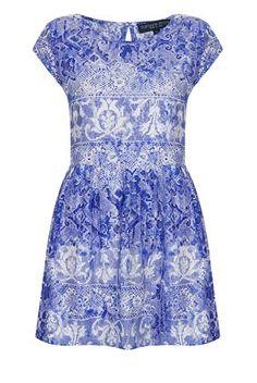 Topshop China Lace Porcelain Print Skater Dress - Blue/White UK16/EU44/US12