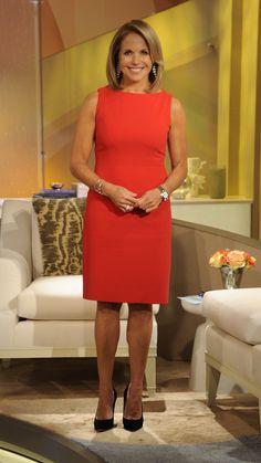 Katie in red! Katie Couric in a David Meister dress for the Barbra Streisand episode of Katie