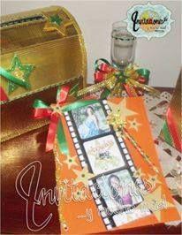 Buzon de Regalo, Libro de Firmas y Copa de brindis motivo Hollywood en naranja y verde manzana