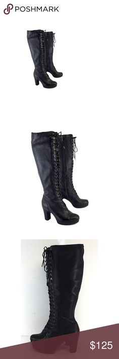 Kenneth Cole- Black Leather Lace Up Boots Sz 6.5 Kenneth Cole is an American designer most known for his shoes. Kenneth Cole designs men's and women's footwear, men's and women's clothing, and also accessories under the Kenneth Cole Reaction Line. Kenneth Cole Shoes Lace Up Boots