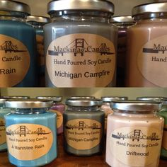 Mackinac Candle Company stocked us up with their awesome new soy candles, love the up north Michigan scents!