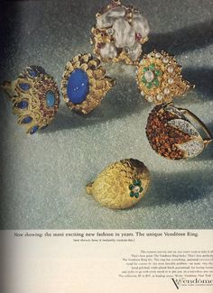 1963 Vendome jewelry ad, lots of rings