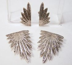 Art Deco Sterling Silver Marcasite Jewelry Set Clip On Earrings and Fur Dress Clip Pair 615DG (61.99 USD) by GretelsTreasures