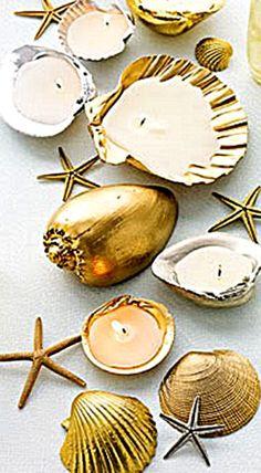 DIY Metallic Shell Candleholders.
