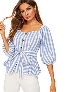 To find out about the Button Front Bishop Sleeve Belted Striped Blouse at SHEIN, part of our latest Blouses ready to shop online today! Blouse Zara, Look Fashion, Fashion Outfits, 70s Fashion, Western Wear For Women, Evening Tops, Bishop Sleeve, Long Blouse, Boho Tops
