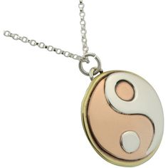 Brass, Copper and Stainless Steel Yin Yang Pendant Necklace ❤ liked on Polyvore featuring jewelry, necklaces, brass jewelry, yin yang necklace, brass necklace, stainless steel pendant necklace and yin yang pendant necklace